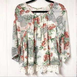 Floral Peasant Top w Crochet Lace Trim